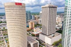 Tampa, Florida Downtown Skyline Skyscraper Aerial Photo. Tampa, Florida is a beautiful home to many along the Gulf Coast on the western part of Florida. Tampa royalty free stock photo