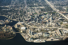 Tampa Florida flyg- sikt Royaltyfri Fotografi