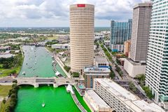 Tampa, Florida Green River on St. Patrick`s Day stock photos