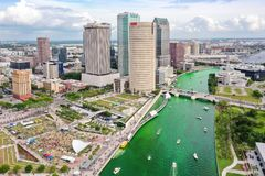 Tampa, Florida Green River on St. Patrick`s Day royalty free stock photos