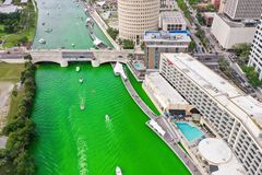 Tampa, Florida Green River on St. Patrick`s Day royalty free stock images