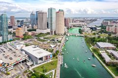 Tampa, Florida Green River on St. Patrick`s Day stock image