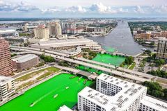 Tampa, Florida Green River on St. Patrick`s Day stock images