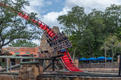 TAMPA, FLORIDA - MAY 05, 2015: Attractions in Busch Gardens Tampa Bay. Florida. Attractions in Busch Gardens Tampa Bay. Florida royalty free stock image