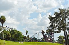Cobras Hunt Rollercoaster view from Serengetti Train at Bush Gardens Tampa Bay. Tampa, Florida. October 06, 2018 Cobras Hunt Rollercoaster view from Serengetti royalty free stock images