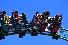 During the 3 12 minute ride, the coaster trains speed along at 40 mph down 2,100 feet at Bush Ga. Tampa, Florida. October 25, 2018 During the 3 12 minute ride royalty free stock images