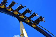 Crazy People enjoying Montu Rollercoaster. Montu is a favorite of coaster enthusiasts for its sp stock photos