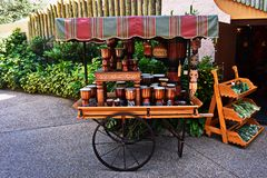 European style car with African drums and mask at Bush Gardens Tampa. stock photo