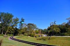 Tampa, Florida; September 29, 2018. Skyride transportation attraction, rail and Cheetah Hunt Ro stock image