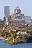 Tampa, Florida Skyline. One of many residential neighborhoods located on one of the channels in the Port of Tampa, off of the Gulf of Mexico, located near Royalty Free Stock Photography