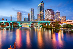 Tampa, Florida Skyline. Tampa, Florida, USA downtown city skyline over the Hillsborough River royalty free stock images