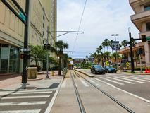 Tampa, Florida, United States - May 10, 2018: The street and cars at Downtown of Tampa, Florida, United States. On May 10, 2018 stock photos