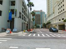 Tampa, Florida, United States - May 10, 2018: The street and cars at Downtown of Tampa, Florida, United States. On May 10, 2018 stock photo