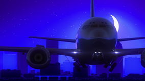 Tampa Florida USA America Airplane Take Off Moon Night Blue Skyline Travel stock illustration