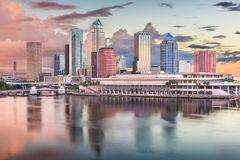 Tampa, Florida, USA downtown skyline on the bay. At dawn royalty free stock photo