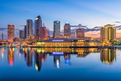 Tampa, Florida, USA. Downtown skyline on the bay royalty free stock photos