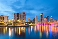 Tampa, Florida, USA downtown skyline on the bay. At twilight royalty free stock photography