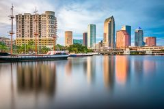 Tampa, Florida, USA downtown skyline on the bay. At twilight stock photos