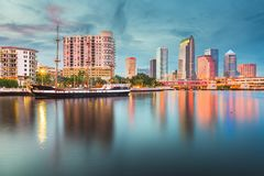 Tampa, Florida, USA downtown skyline on the bay. At twilight royalty free stock photos
