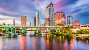 Tampa, Florida, USA. Downtown skyline on the Hillsborough River royalty free stock images