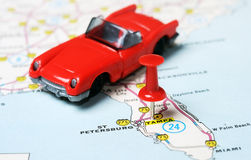Tampa Florida USA map red car. Close up of Tampa Florida USA map with red pin and auto toy - Travel concept stock images