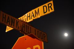 Low angle of a street sign with a closeup view. Tampa, Florida / USA - May 5 2018: Billingham Drive and Hawk Hill Loop Crossing Street Sign stock image