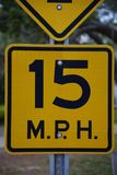 Tampa, Florida / USA - May 5 2018: 15 MPH low angle street sign stock photos