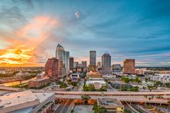 Tampa, Florida, USA. Downtown skyline at dusk royalty free stock image