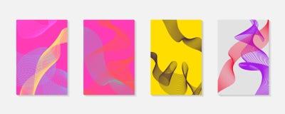 Tampa geométrica dinâmica abstrata do fundo do vetor A onda moderna alinha vibrações Foto de Stock Royalty Free
