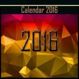 Tampa geométrica do calendário da ilustração 2016 do ano novo Fotografia de Stock