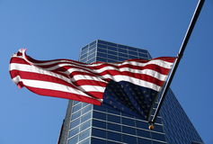Tampa Highrise with Flag Stock Photography