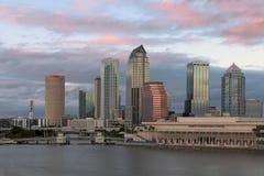 Tampa horisont på skymning royaltyfri bild
