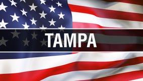 Tampa miasto na usa flagi tle, 3D rendering Zlani stany Ameryka zaznaczają falowanie w wiatrze Dumny flagi amerykańskiej falowani ilustracji