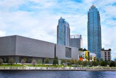 Tampa Museum of Art. Photo of the Tampa Museum of Art and the Curtis Hixon Riverfront park. The Element Condo Tower and the Skypoint Condo Tower can be seen in Royalty Free Stock Images