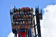 Funny people coming down from the top of the sky at Sheikra Rollercoaster in Bush Gardens Tampa B. Tampa, Orlando. October 05, 2018 Funny people coming down from stock photography
