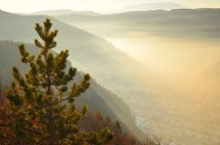 Misty view from Tampa peak - Brasov, Romania Royalty Free Stock Photo
