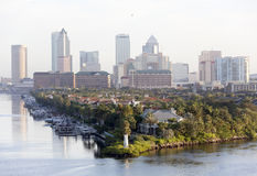 Tampa`s Harbour Island. The morning view of Harbour Island point with a lighthouse and Tampa downtown in a background Florida stock image