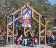 Tampa`s Lowry Park Zoo. Group of Students waiting on line to get in to Tampa`s Lowry Park Zoo.  The 56-acre zoo offers rides, animals and fun.The zoo offers Stock Image