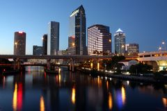 Tampa Skyline. Night view of the Tampa skyline in Tampa, Florida Stock Image
