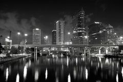 Tampa Skyline. Tampa Florida Skyline in Black&White royalty free stock photo