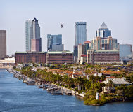 Tampa Skyline and Bay, Florida. The tall modern office buildings of the skyline of Tampa, Florida in the south east of the United States of America, rise above a Royalty Free Stock Image
