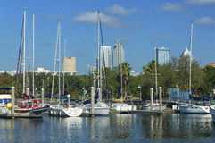 Tampa Skyline and Boats Royalty Free Stock Image