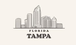 Free Tampa Skyline, Florida Drawn Sketch Big City Stock Image - 214973901