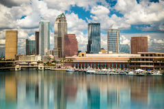 Tampa Skyline. Tampa Florida skyline with sun and clouds Stock Photography