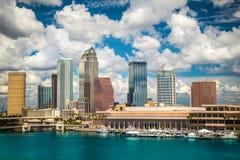 Tampa Skyline. Tampa Florida skyline with sun and clouds