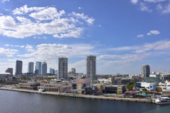 Tampa Skyline and harbor and clouds Royalty Free Stock Images