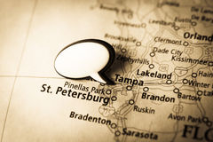 Tampa, St. Petersburg map Royalty Free Stock Photo