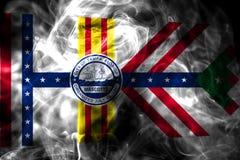Tampa-Stadtrauchflagge, Staat Florida, die Vereinigten Staaten von Amerika stockfoto