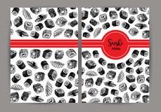 Tampa tirada mão com sushi fundo do vetor com esboços Imagens de Stock