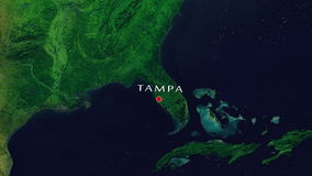Tampa - United States zoom in from space. Zoom to geographic earth from space 4K Resolution animation stock video footage
